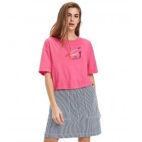 T-shirt Tommy Jeans crop con stampa da donna rif. DW0DW06224
