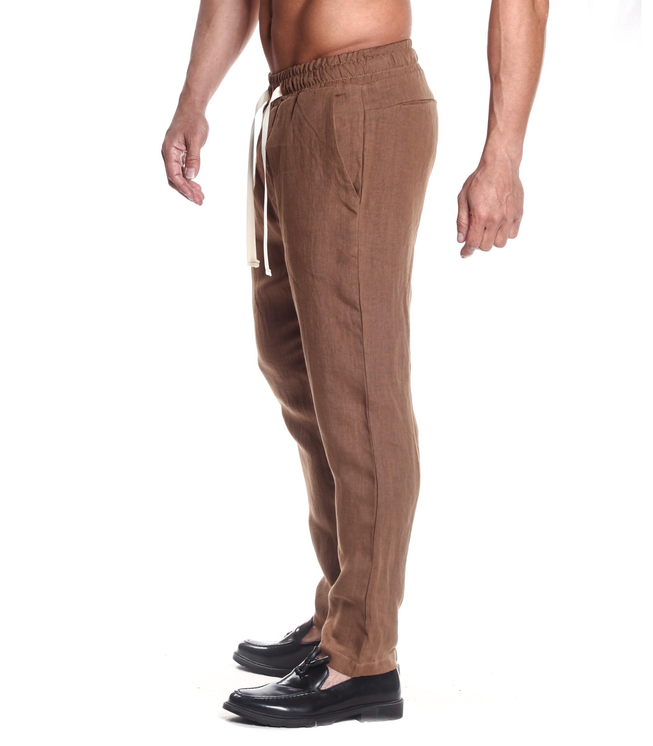 super popolare 00d35 72a72 Pantaloni OUTFIT di lino casual con elastico e laccio uomo ...