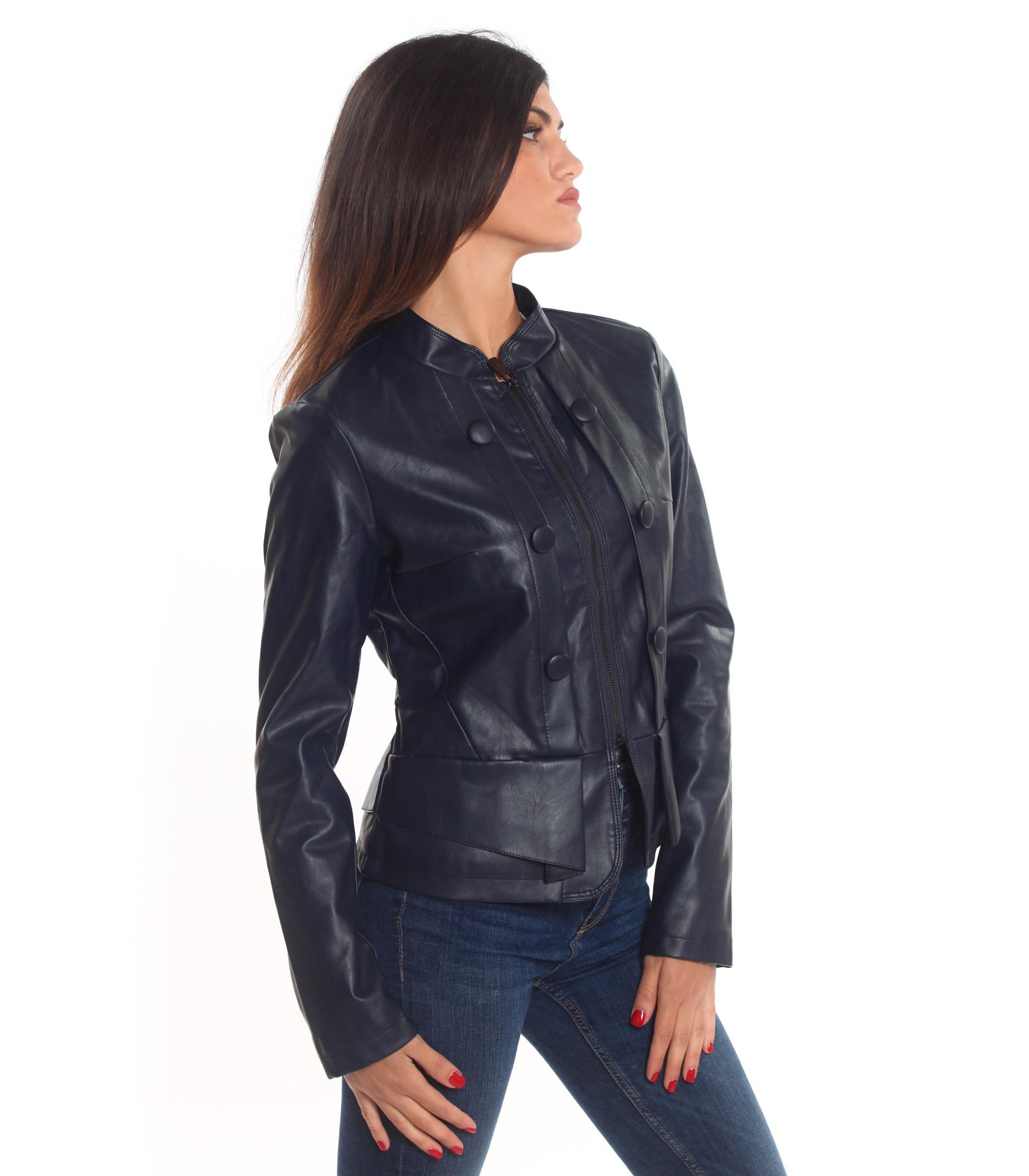 online retailer 6f335 a4434 Giubbotto Giubbino Giacca Yes Zee in eco pelle da donna rif ...