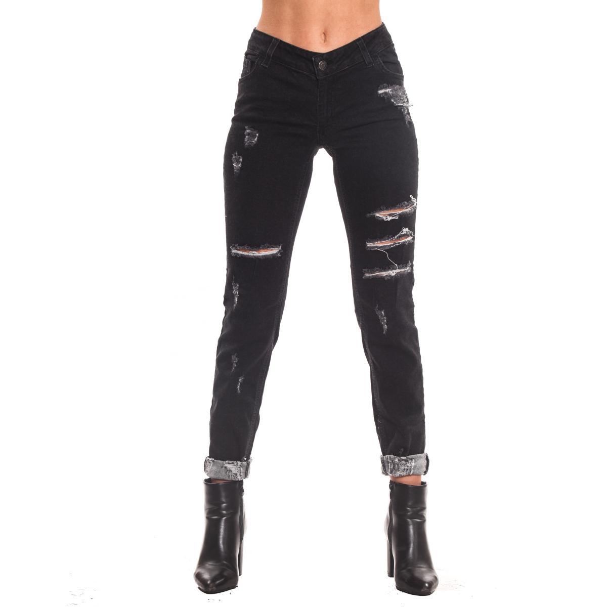 Pantaloni Jeans H.U.N.T. Skinny fit strappato nero da donna rif. HDC801