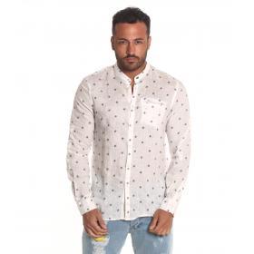 Camicia OUTFIT di lino con collo coreana e microfantasia da uomo rif. OF1SS19C007