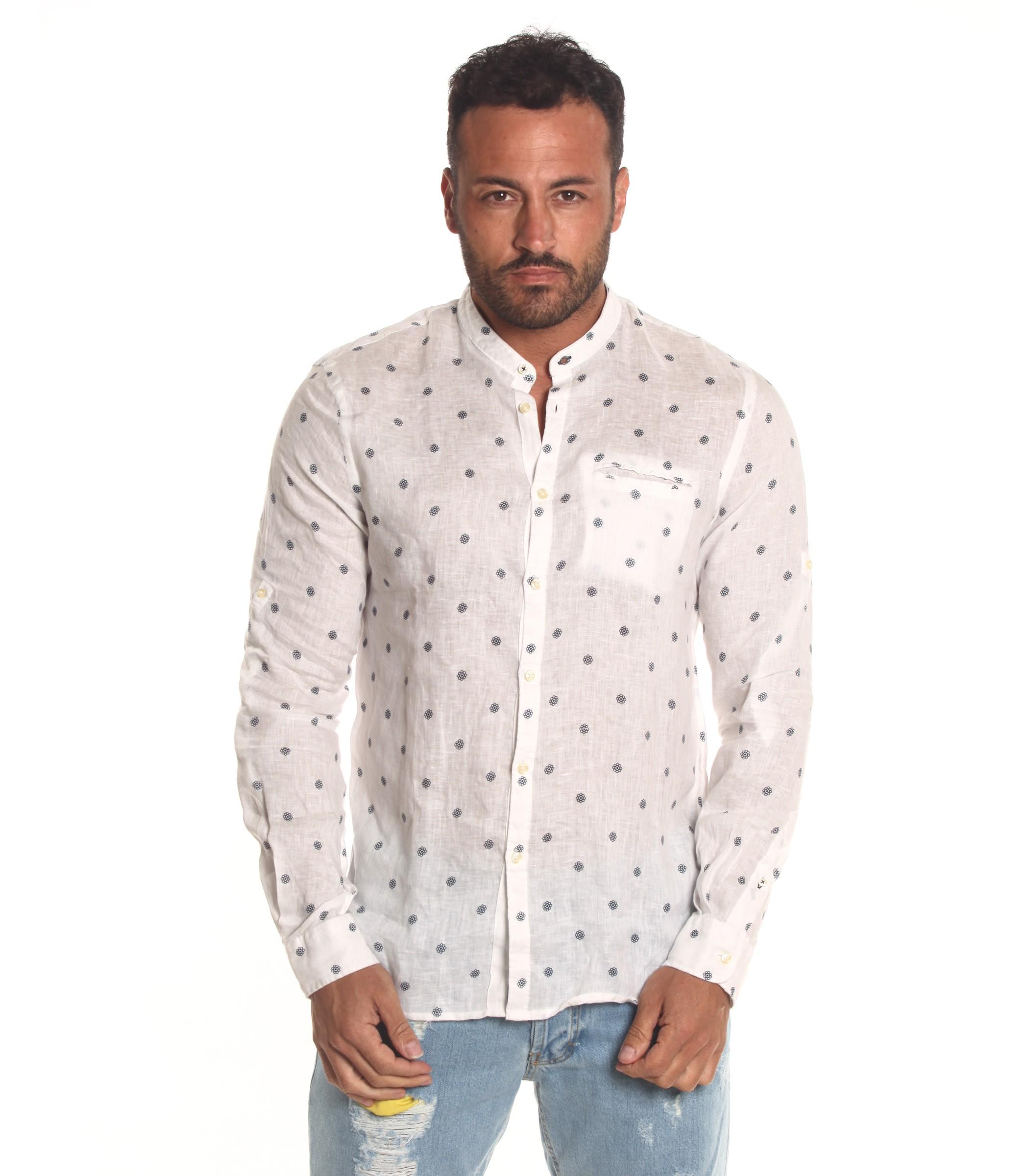 buy popular 0436c 7bf33 Camicia OUTFIT di lino collo coreana e fantasia da uomo ...