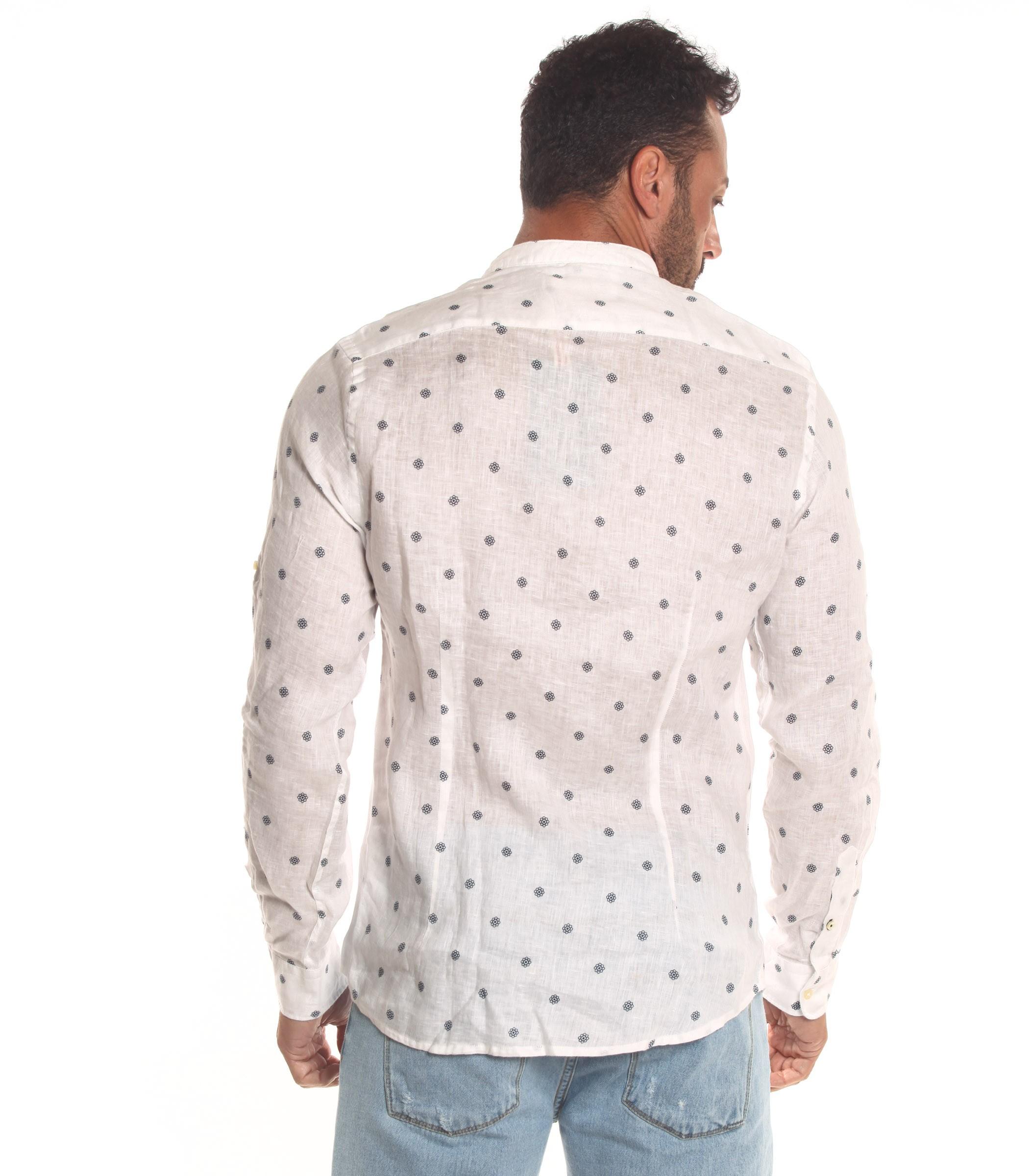 buy popular 6ca1c 6ca11 Camicia OUTFIT di lino collo coreana e fantasia da uomo ...