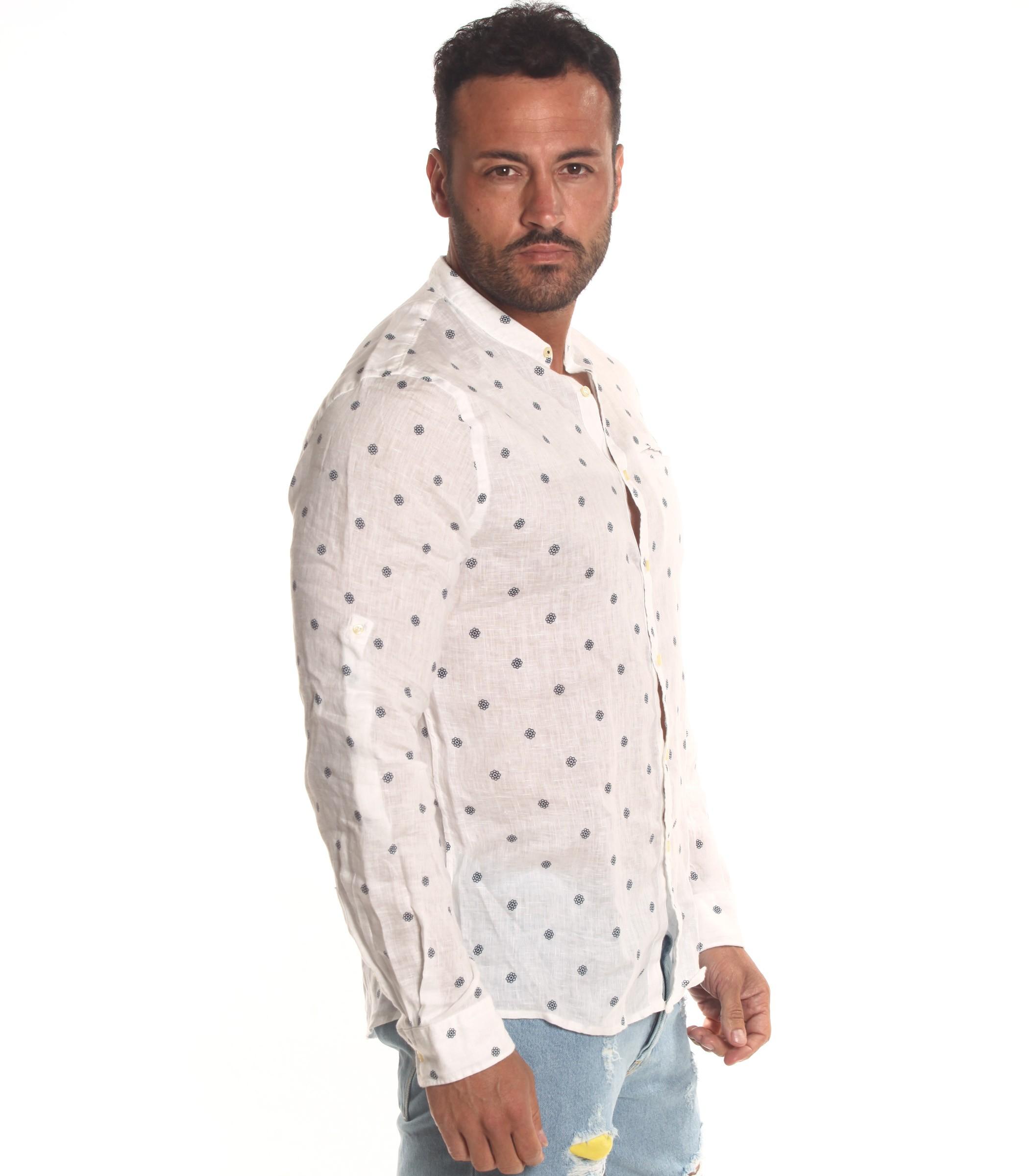 buy popular 2a9d8 0cc26 Camicia OUTFIT di lino collo coreana e fantasia da uomo ...