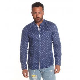 Camicia OUTFIT di lino a fantasia con colletto alla coreana da uomo rif. OF1SS19C008