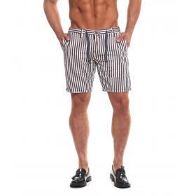 Bermuda pantaloncini Over-d a righe blu e bianche da uomo rif. ODL01