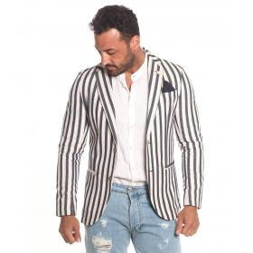 Giacca blazer Over-d misto lino a righe due bottoni da uomo rif. OVERD-13