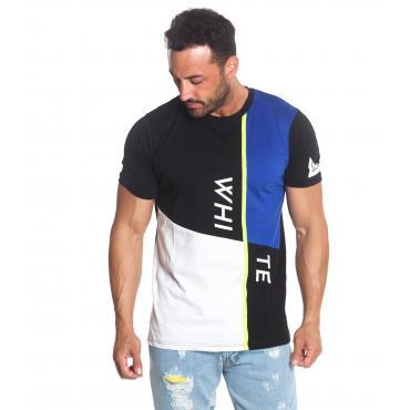 T-Shirt da Uomo White Multicolor Geometrica Scollo Tondo con Stampe Rif. W19254