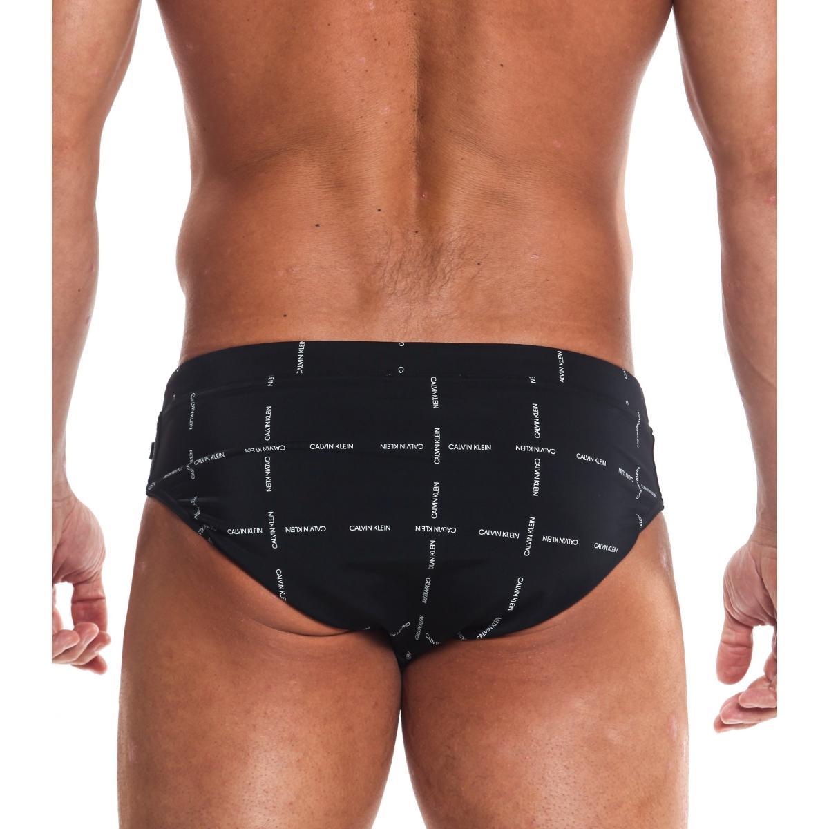 Slip da bagno Calvin Klein Swimwear Monogram con logo all over da uomo rif. KM0KM00254