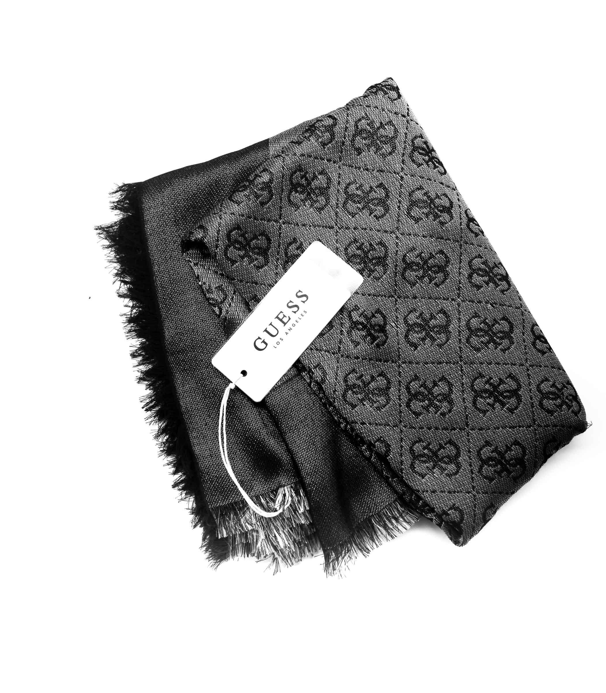 aspetto dettagliato 30426 3e26d Foulard GUESS con logo ripetuto da donna grigio nero rif ...
