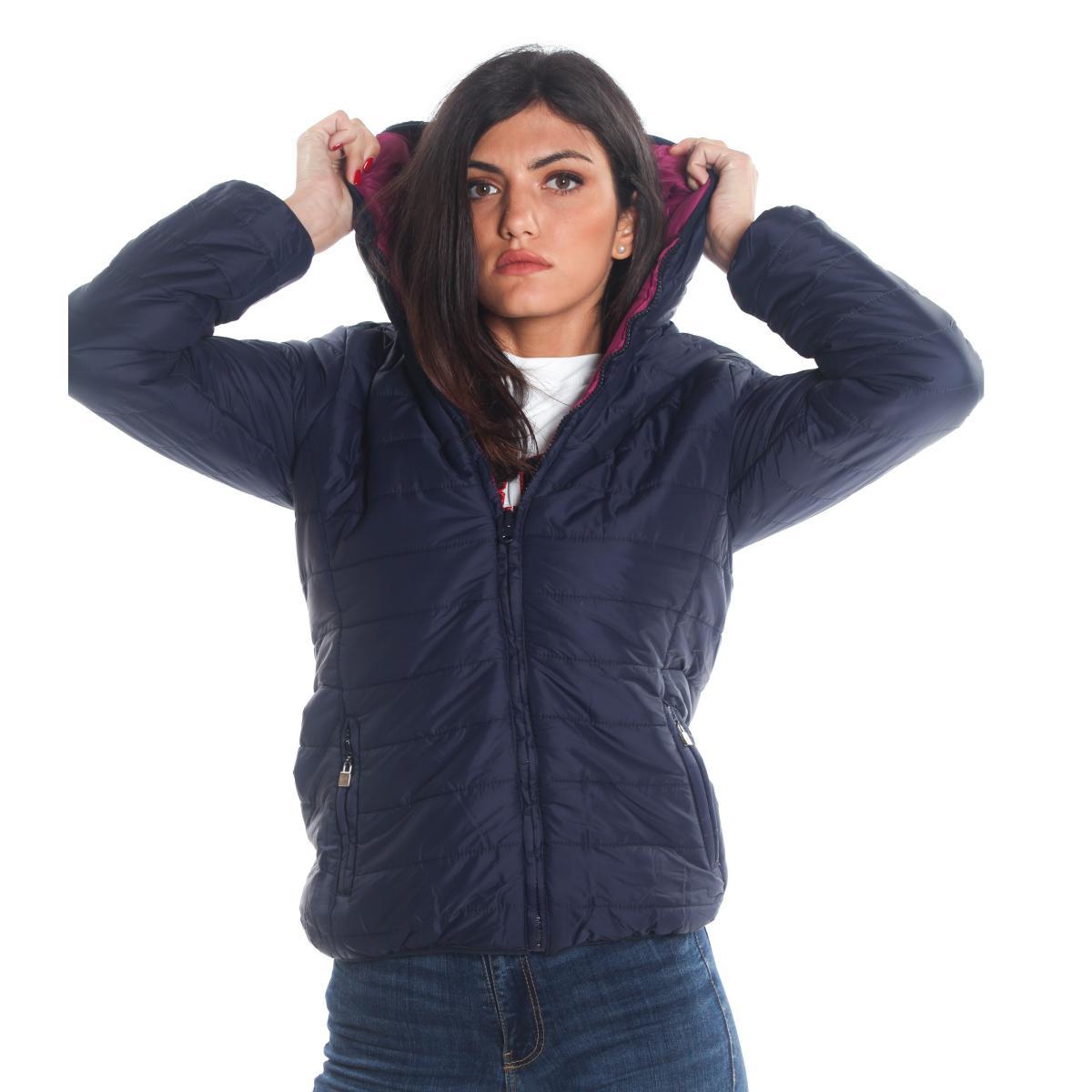 Giubbotto piumino 100 grammi double face con cappuccio da donna rif. Z821D