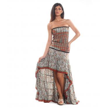 Vestito abito Moda Ibiza fantasia multicolore da donna rif. PW28