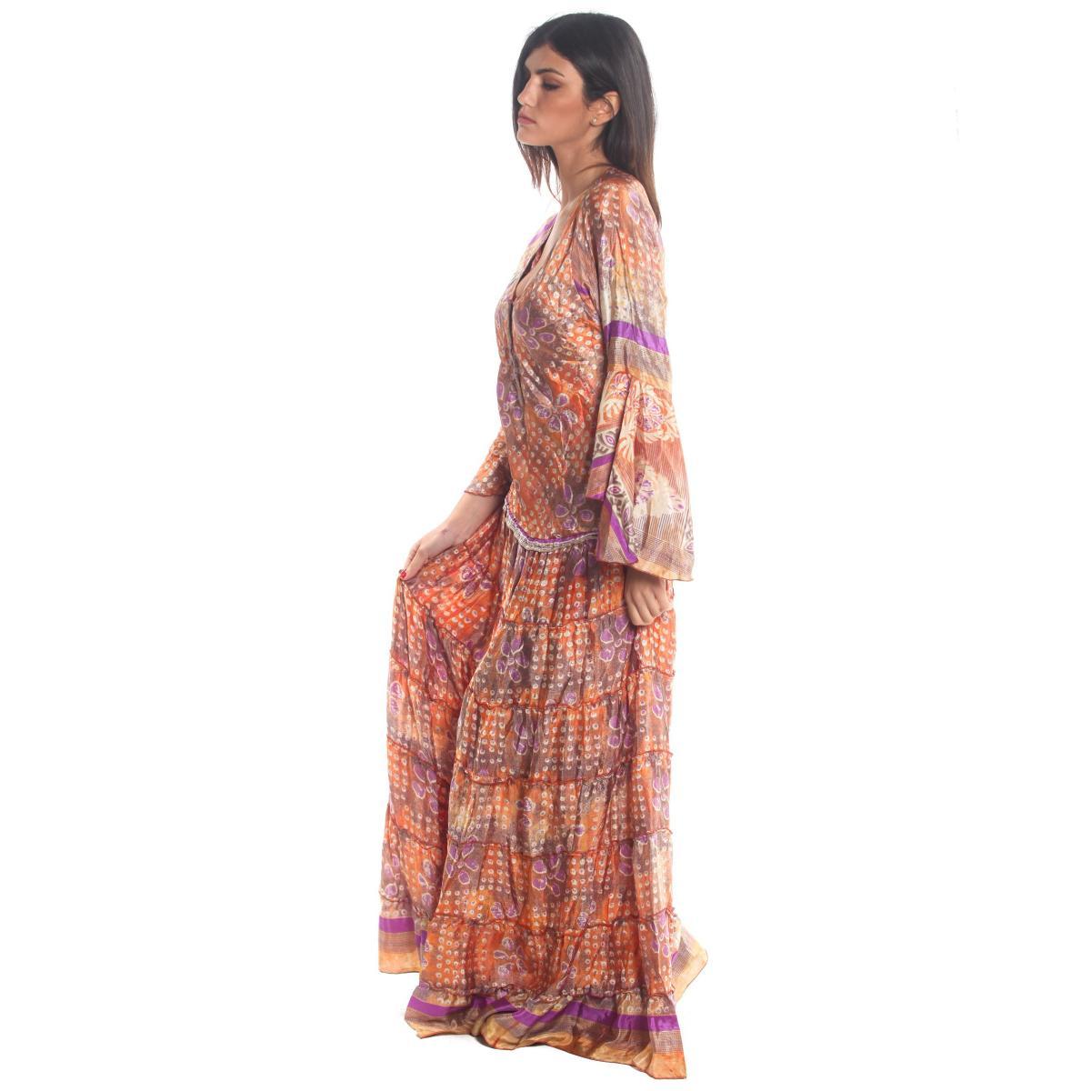 Vestito Abito Moda Ibiza a fantasia multicolore manica lunga da donna rif. PW504