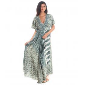 Vestito Abito Moda Ibiza fantasia con scollo a V da donna rif. PW603