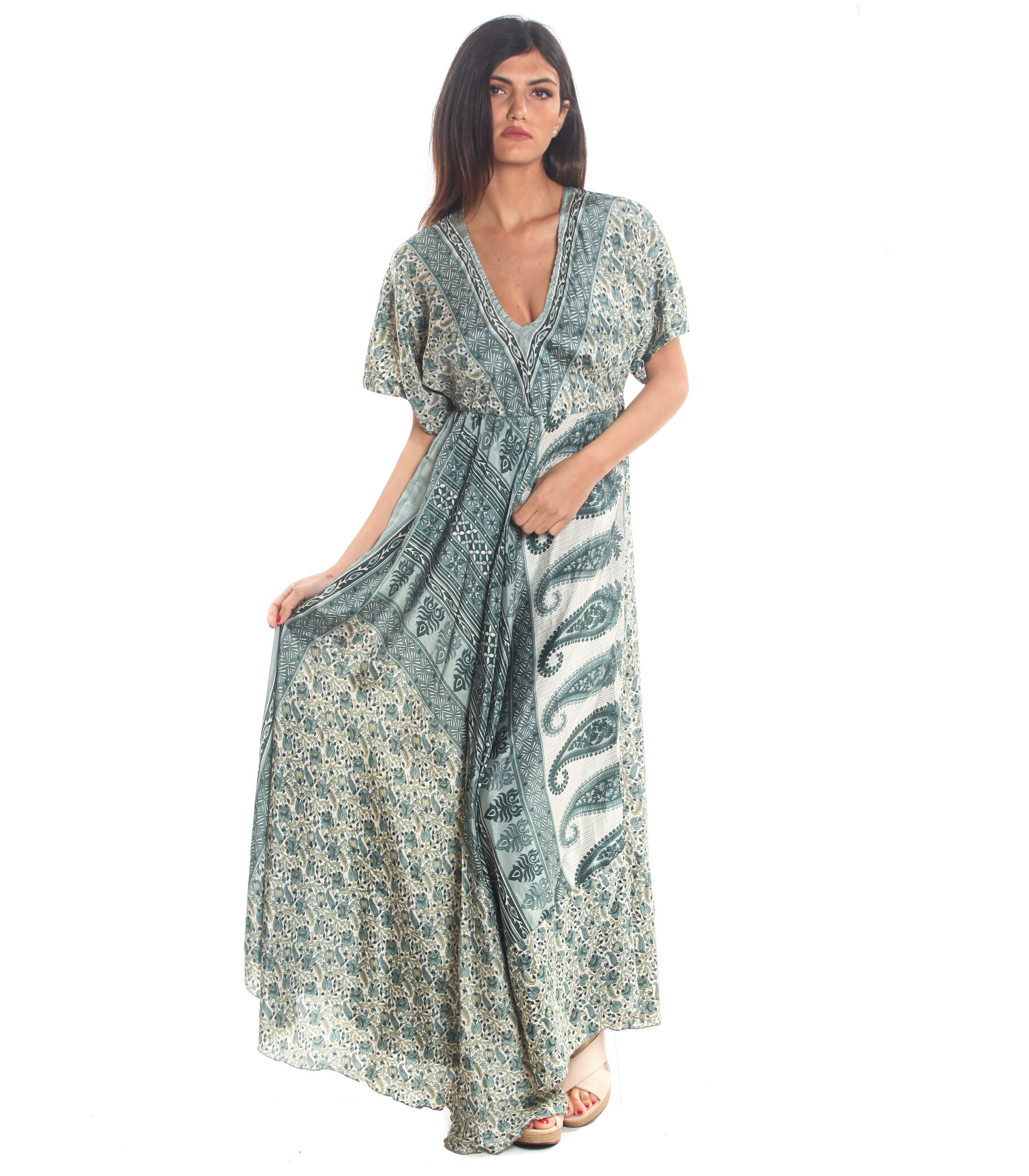 timeless design 7ec68 03c2a Vestito Abito Moda Ibiza a fantasia con scollo a V da donna ...