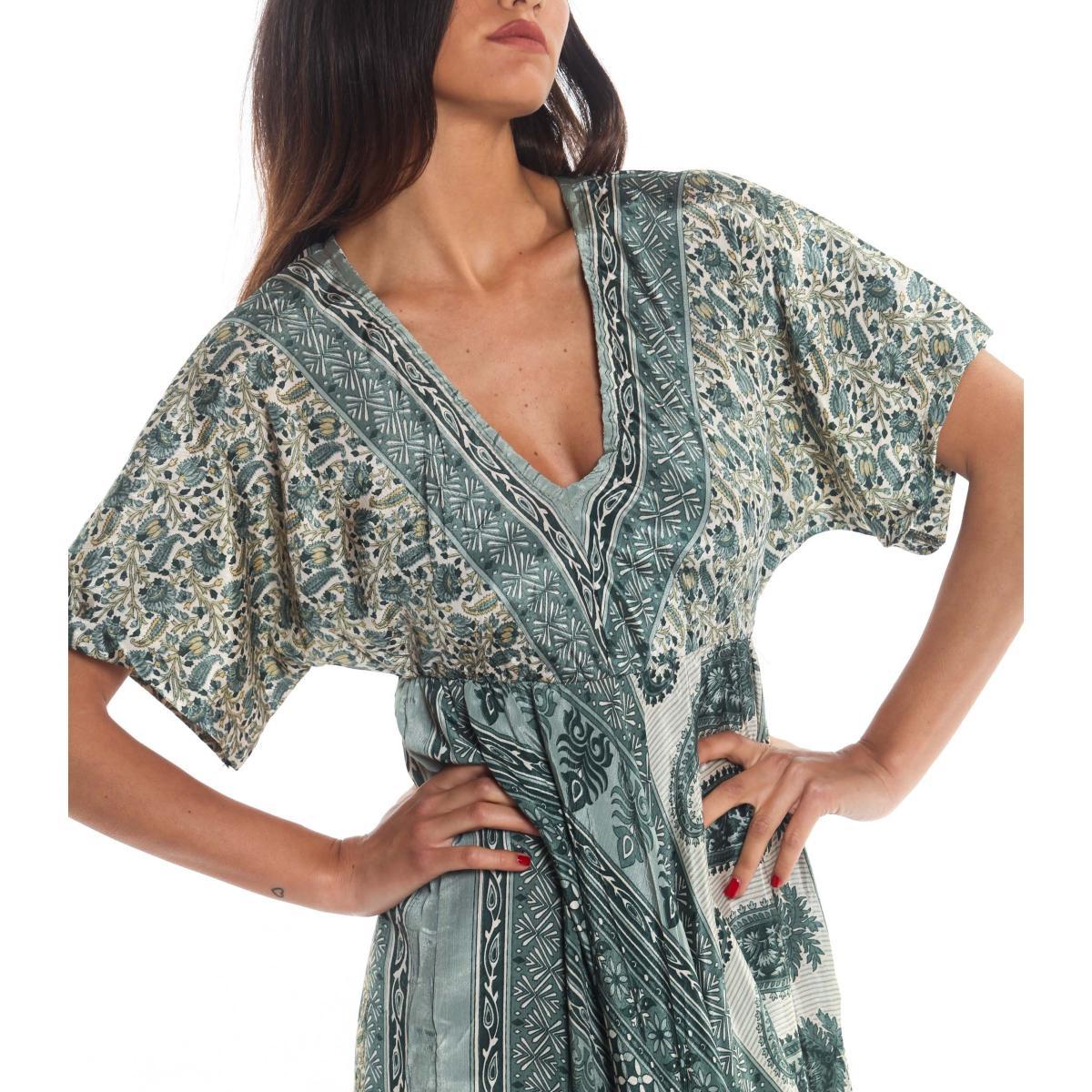 Vestito Abito Moda Ibiza a fantasia con scollo a V da donna rif. PW603