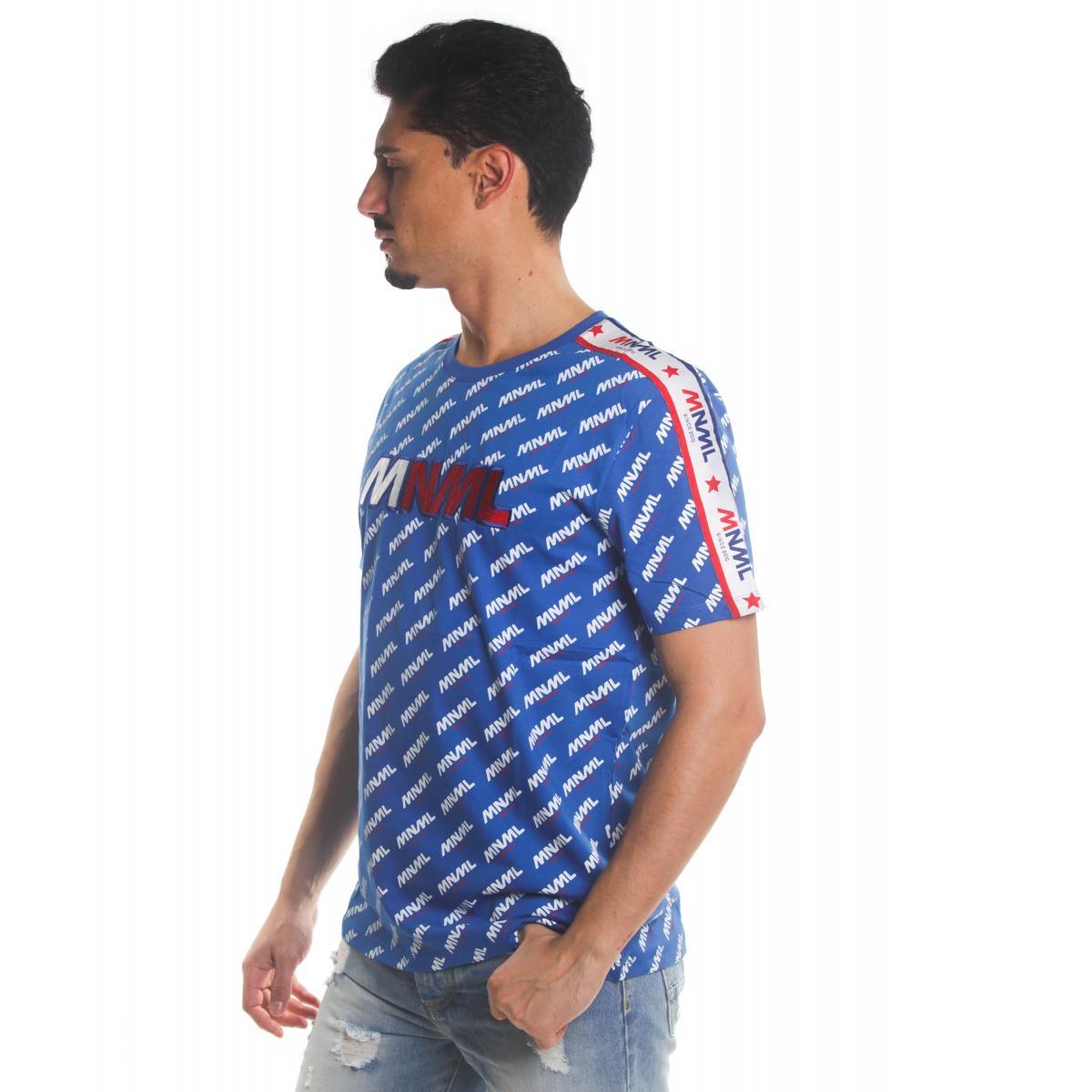 T-shirt MINIMAL con logo all over e stampa MNML da uomo rif. U2079