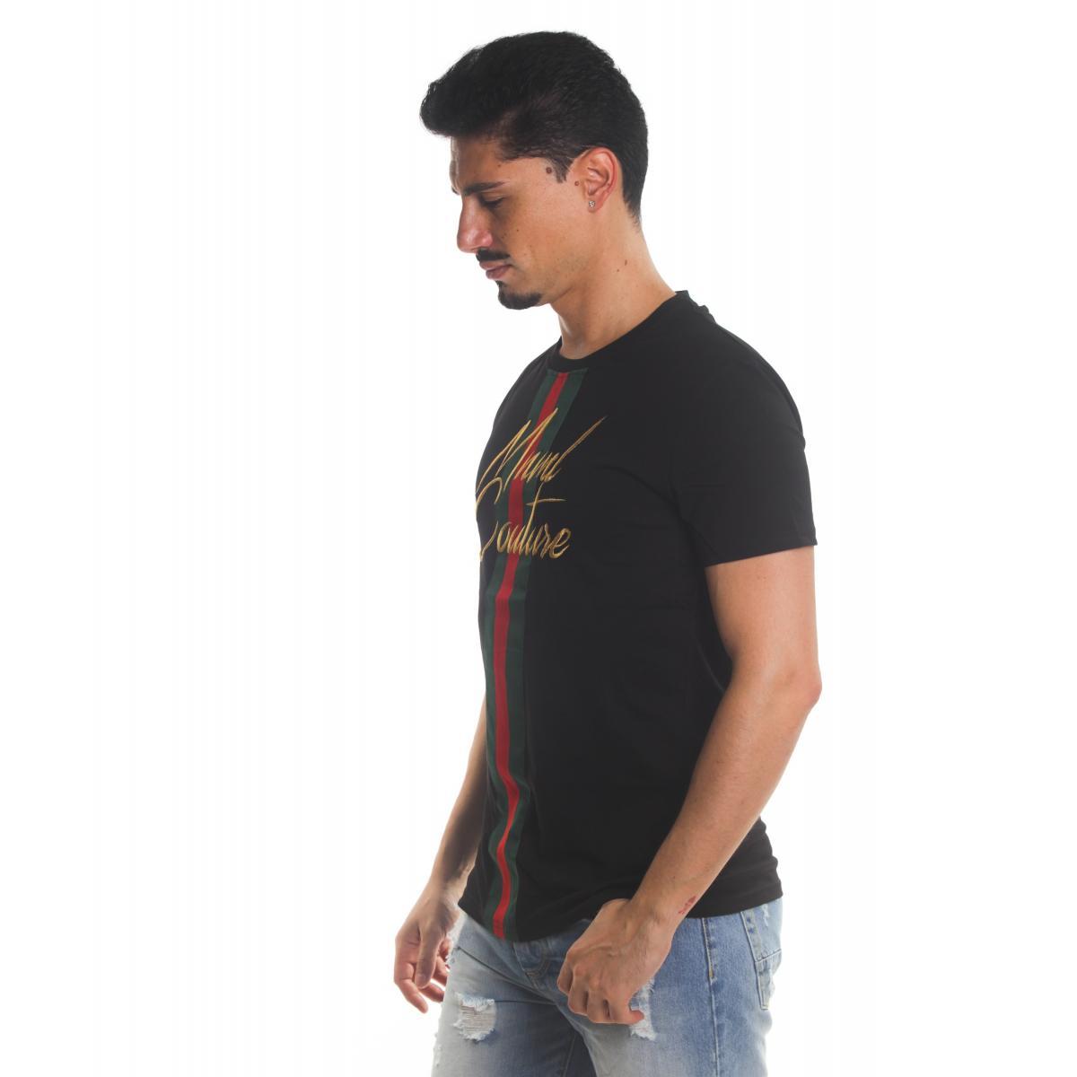 T-shirt MINIMAL con banda bicolore con logo MNML Couture da uomo rif. U2136