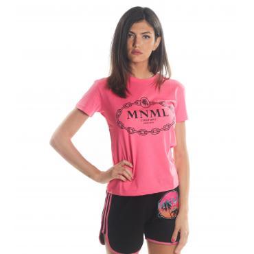 T-shirt MINIMAL in cotone girocollo con stampa da donna rif. D1675