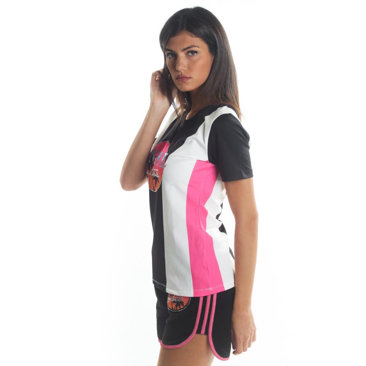 T-shirt MINIMAL con bande a contrasto e stampa da donna rif. D1679