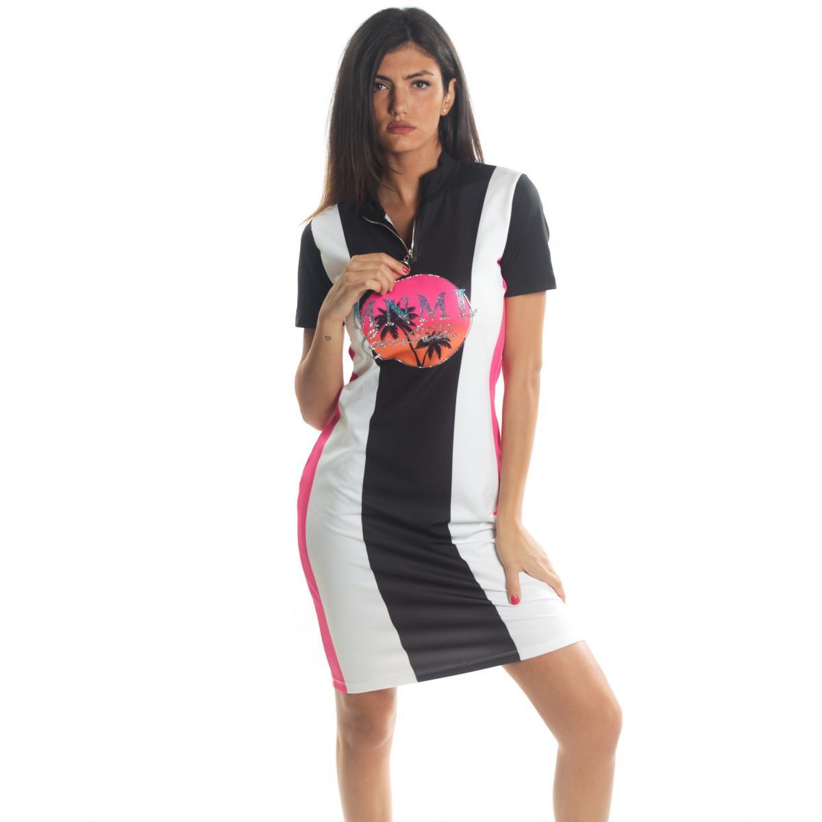 Abitino MINIMAL mezza manica con stampa MNML Couture con glitter da donna rif. D1682