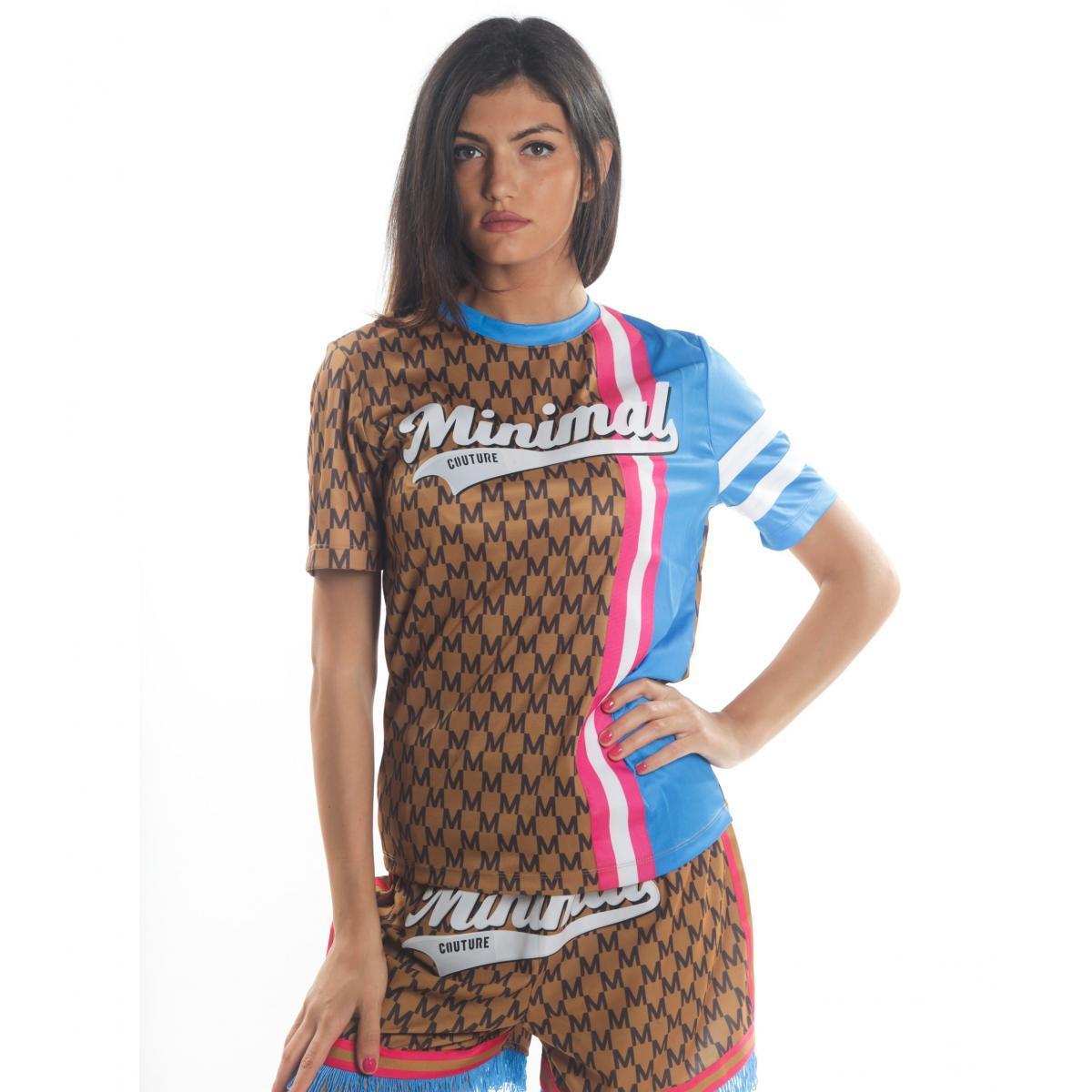 T-shirt MINIMAL bicolore con stampe da donna rif. D1693