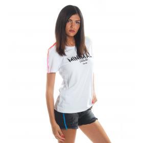 T-shirt MINIMAL in cotone girocollo con stampa da donna rif. D1701