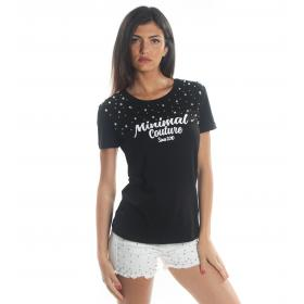 T-shirt MINIMAL in cotone con applicazioni perle da donna rif. D1703