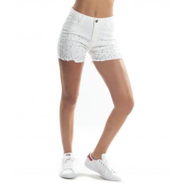 Pantaloncini shorts MINIMAL in jeans sfrangiati con applicazioni perle da donna rif. D1704