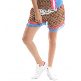 Shorts bermuda MINIMAL con stampa e frange da donna rif. D1692