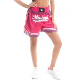 Shorts MINIMAL con stampa MNML Couture e frange da donna rif. D1698