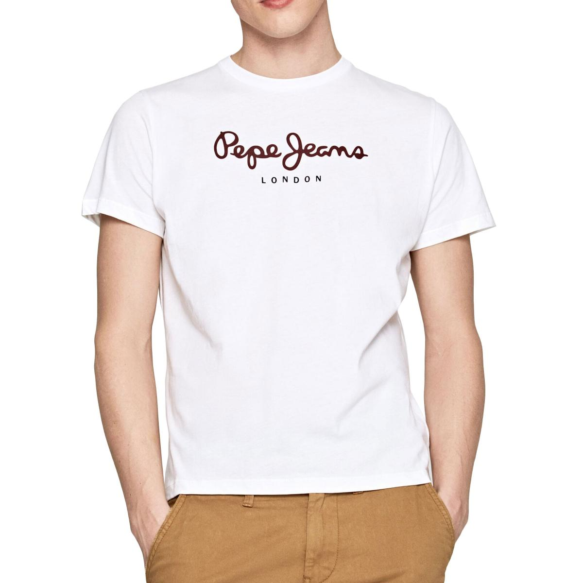 "T-shirt girocollo con stampa logo Pepe Jeans ""Eggo"" da uomo rif. PM500465"