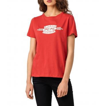 T-shirt Pepe Jeans Agnes girocollo con logo da donna rif. PL504151 AGNES