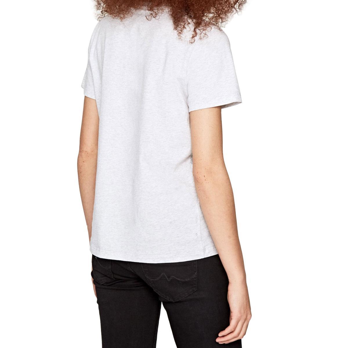 T-shirt Pepe Jeans Ava girocollo con logo e fiori da donna rif. PL504176 AVA