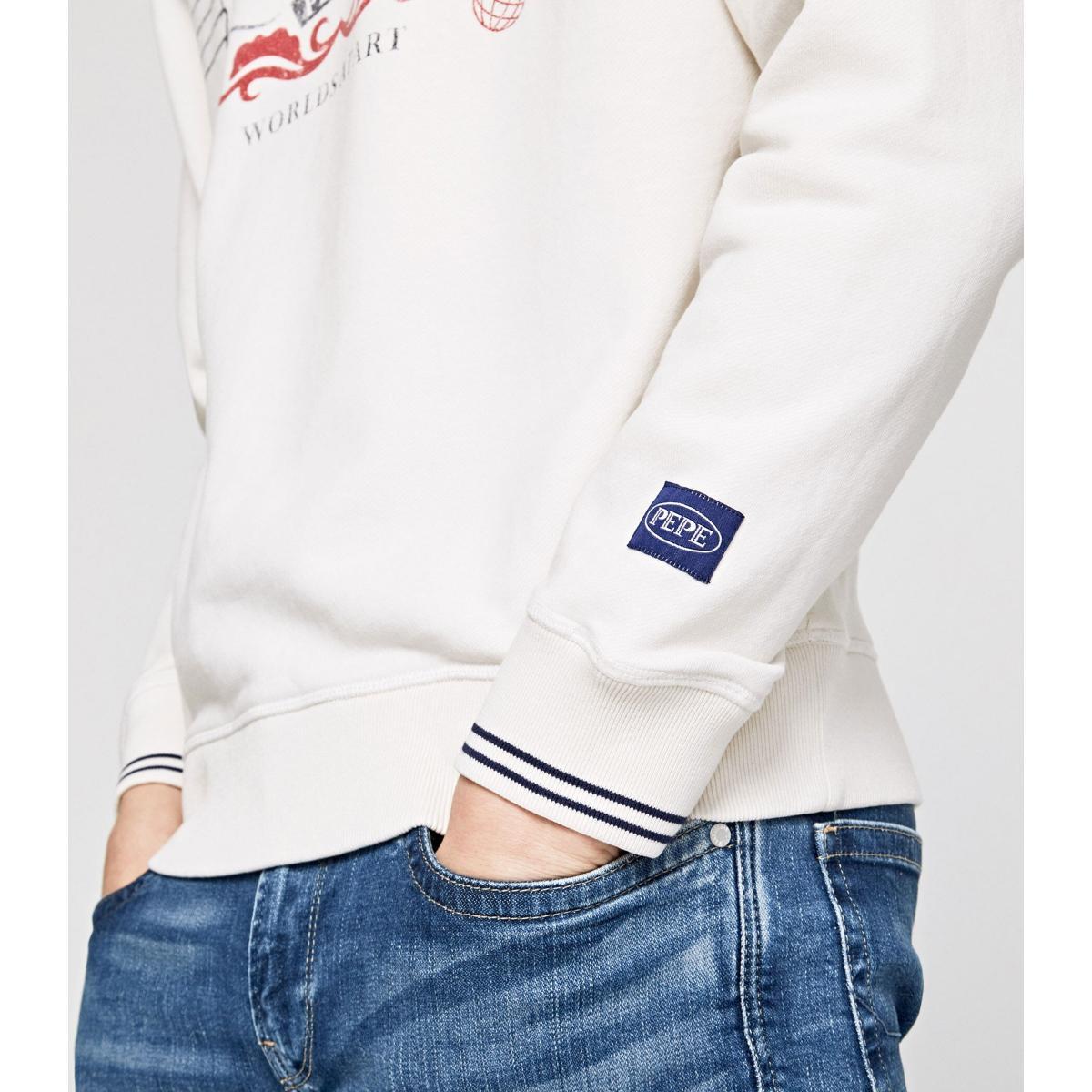 Felpa Pepe Jeans con stampa girocollo da uomo rif. PM581634 SHAAN