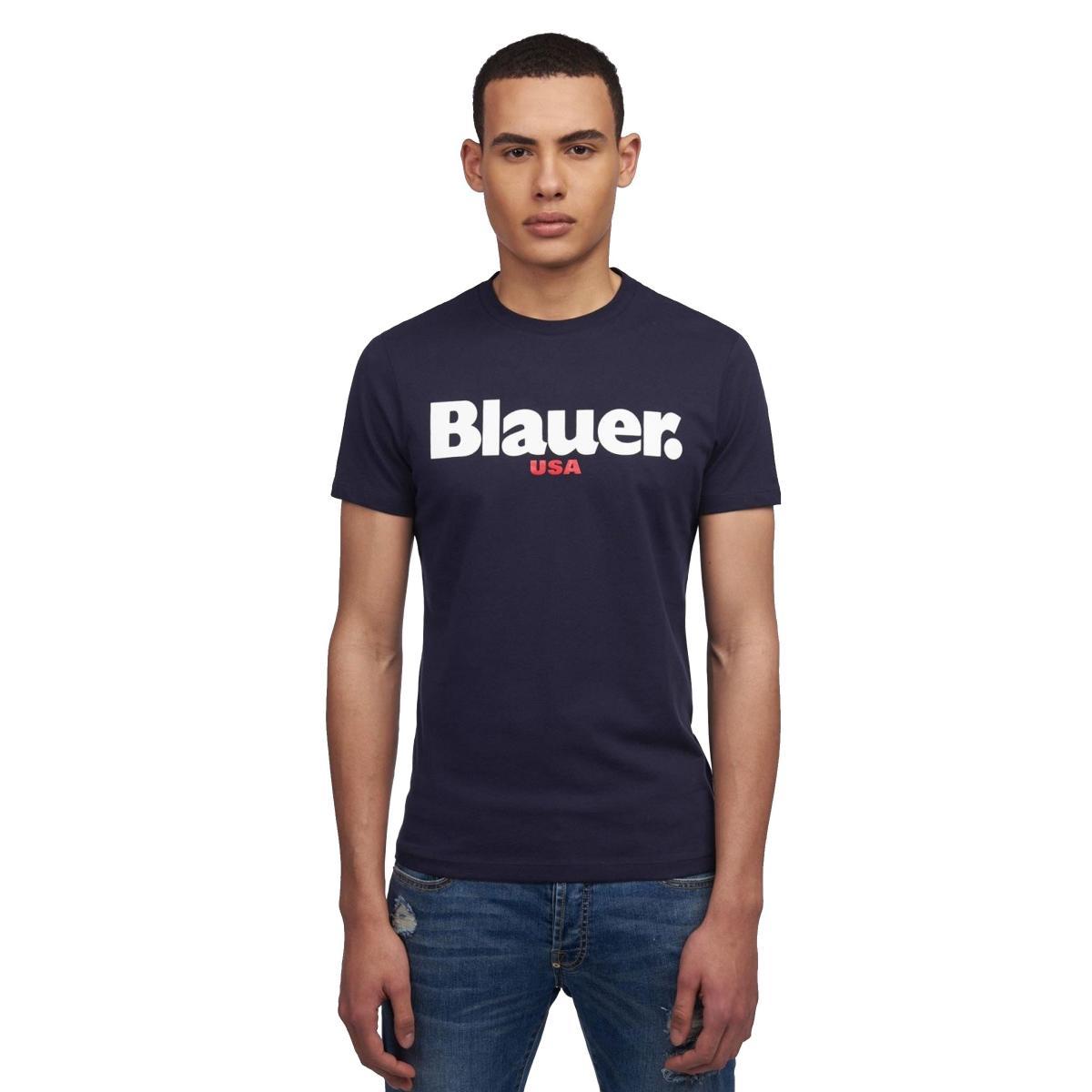 T-shirt Blauer con stampa sul petto da uomo rif. 19SBLUH02149 004547