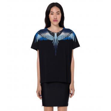 T-shirt Marcelo Burlon Blue Wings con stampa da donna rif. BLUE WINGS