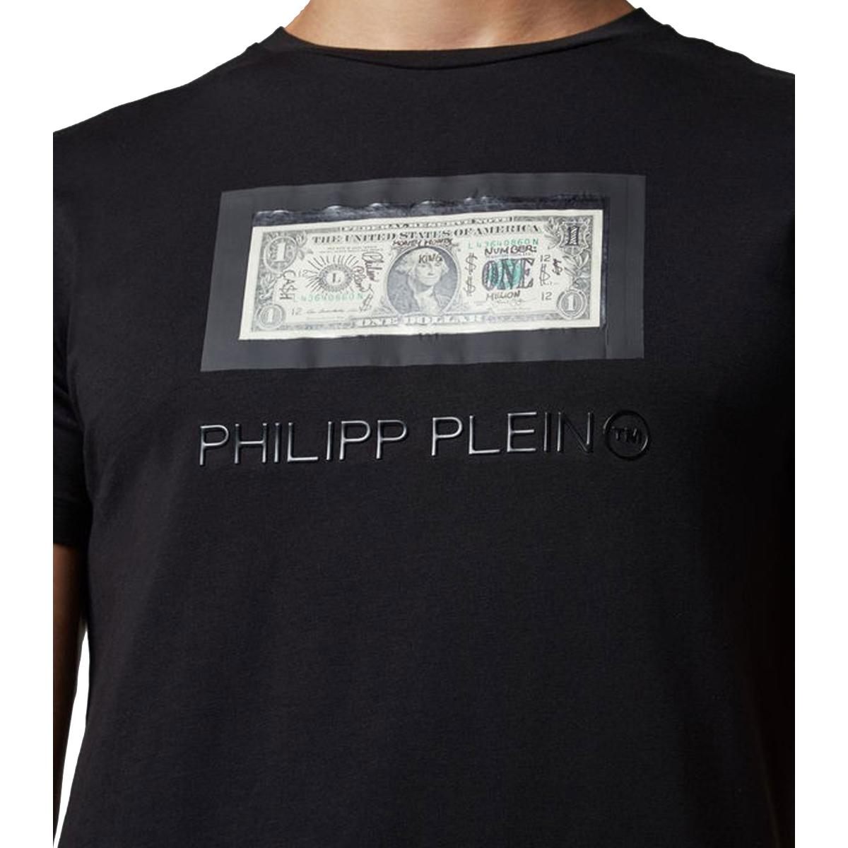 T-shirt Philipp Plein Platinum cut round neck dollar da uomo rif. MTK3030