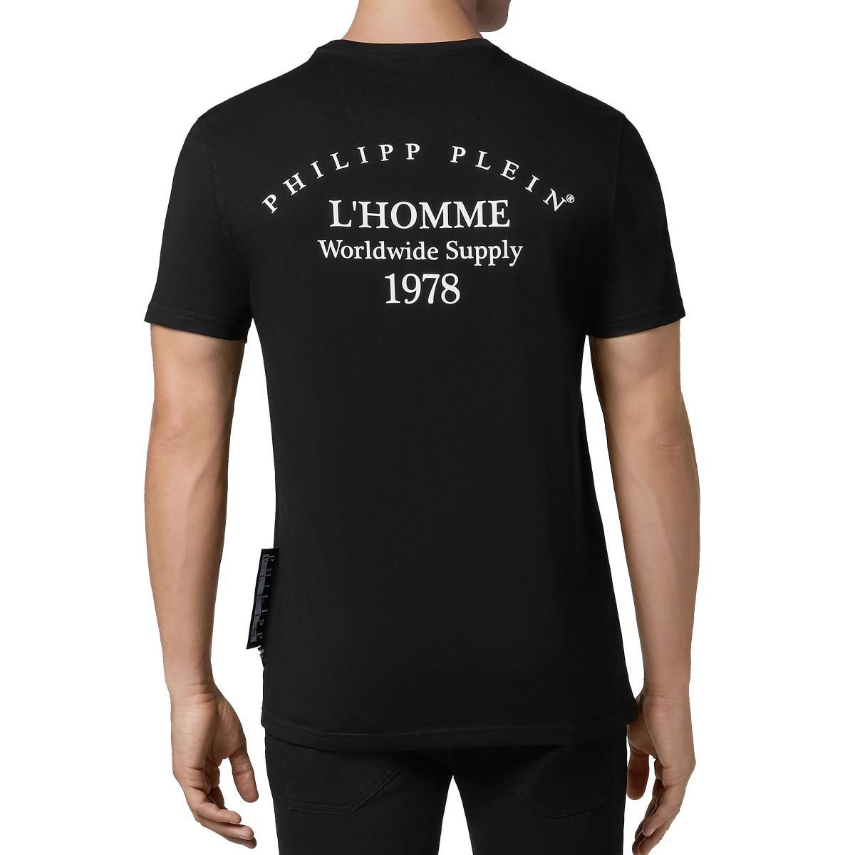 T-shirt Philipp Plein Platinum cut round neck con stampa da uomo rif. MTK3108