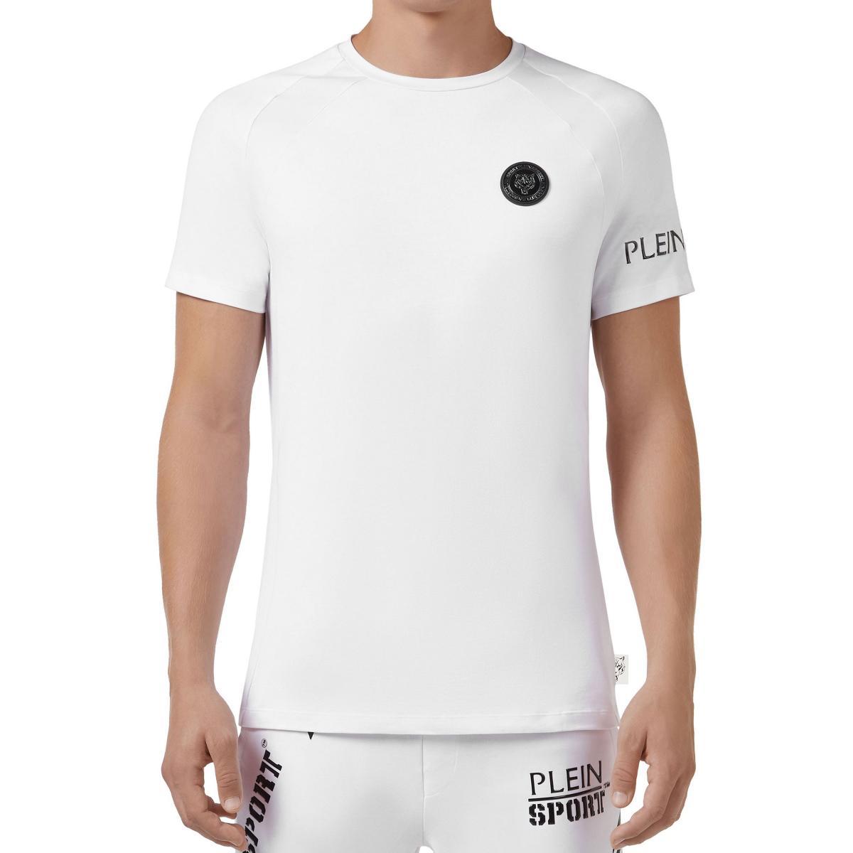 T-shirt Plein Sport Round Neck SS Geometric con stampa sul retro da uomo rif. MTK3051