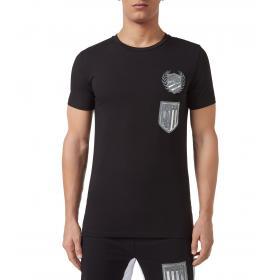 T-shirt Plein Sport Round Neck SS Logos con stemma da uomo rif. MTK3389