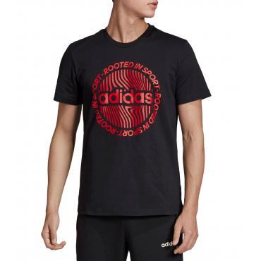 T-shirt girocollo con stampa Adidas Circled Graphic Tee da uomo rif. EI4610