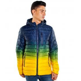 Giubbotto Piumino 200 grammi con cappuccio multicolor da uomo rif. JK565