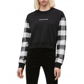 Felpa Calvin Klein Jeans corta a quadri da donna rif. J20J212389