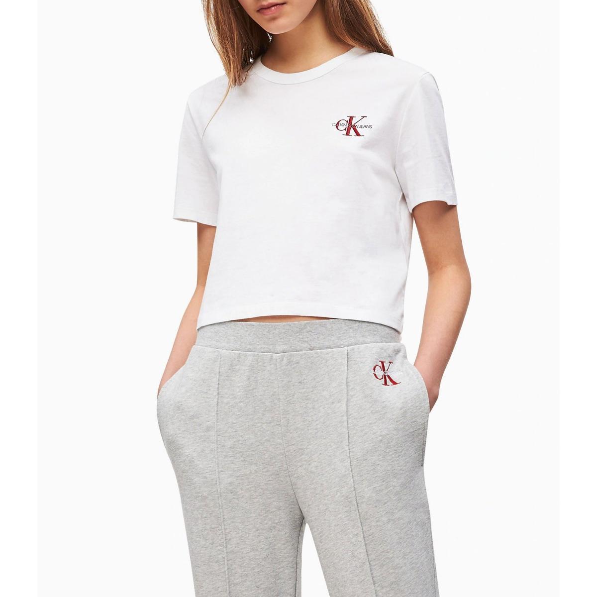 T-shirt Calvin Klein Jeans ricamata corta da donna rif. J20J211592