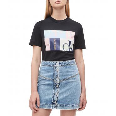 T-shirt Calvin Klein Jeans dritta con logo da donna rif. J20J211604