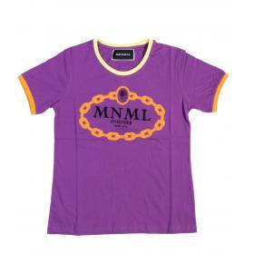T-shirt Minimal Couture con bordini e catena a contrasto da donna rif. D1652
