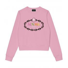 Felpa Minimal Couture con catena e logo MNML sul petto da donna rif. D1656