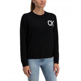 Maglioncino Calvin Klein Jeans con logo in cotone e lana da donna rif. J20J211525