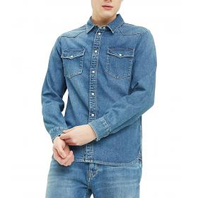 Camicia Tommy Jeans western in denim da uomo rif. DM0DM06667